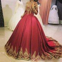 dark red Elegant Muslim Burgundy evening Dresses gold lace applique Long Sleeves High Neck Plus Size Saudi Arabia Dubai African Bridal Dress Custom