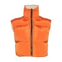 Gilet da donna Autunno Autunno Inverno Giacche in cotone senza maniche per le donne 2021 Colore solido Zipper corto Cappotto in vita Streetwear Vestiti