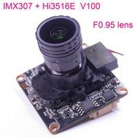 "F0.95 Lens 1 2.8"" SONY STARVIS IMX307 CMOS Image Sensor Hi3516E V100 CCTV IP Camera PCB Board Module +LAN Cable +M16 IRC Filter Cameras"