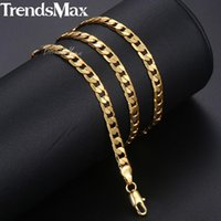 Trendsmax Men's Necklace Gold Curb Cuban Link Chain For Men Women Fashion Male Jewelry Wholesale Drop 5mm GNM89 Chains