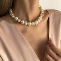 Chokers Goth Pearl Choker Necklace Gold Color Women Jewelry On The Neck Chain Beads Collar For Girl