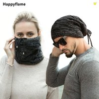 Beanies Multifunction Hat Scarf Dual Purpose Set Women Wool Thick Plush Knitted Winter Outdoor Adjustable Drawstring Bonnets