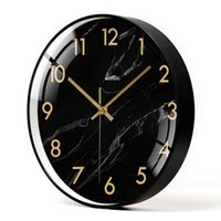 Black Large Metal Wall Clock Watch Nordic Modern Clocks Home Decor Creative Silent Quartz Kitchen Marble Pattern Gift