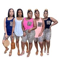Women plus size tracksuits summer clothing leopard 2 piece set sweatsuit gym t-shirt shorts sportswear pullover leggings outfits sleeveless vest bodysuits 01258