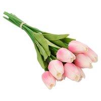 10 шт. Искусственный тюльпан Цветы Долгоснесенный букет для ствола реального сенсорного моделирования для домашней комнаты вечеринка свадебные украшения декоративные венки