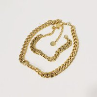 Luxury designer chunky thick choker necklace gold cuban chain letter band bracelet For lady women Party wedding lovers gift engagement jewelry With BOX