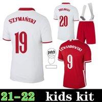2021 2022 Polska Soccer Jerseys مجموعة Lewandowski فريق كرة القدم القمصان المنزلية White Milik Piszczek Piatk Grosicki Kids Kit + Socks