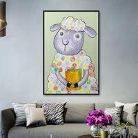Peintures Mintura Main peint une belle huile de mouton sur la peinture murale en toile pour le salon El Decor Affiche Animal Art No encadré