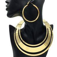 Earrings & Necklace European American Women Exaggerated Metal Choker Set Punk African Jewelry Sets