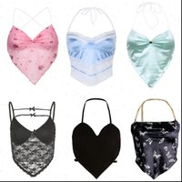 Y2K Aesthetic Cute Women Cami Crop Top Sleeveless V Neck Backless Bandage Camisole E Girl Sexy Halter Tops 2000s Clothes