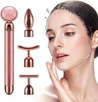 4 em 1 24k Golden Electric Electric Massage Roller Levantando Vibrando Natural Rosa Quartz Jade Roller Facial Beauty Tool apertando rosto firmeza