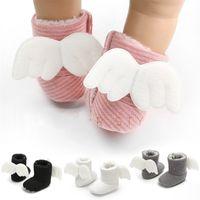 لينة الطفل الشتاء الجوارب الجوارب الوليد الدافئة الهدايا الطفل لطيف أحذية سرير الصغار أحذية جميلة مع أجنحة زاوية 0-18months 912 y2