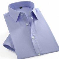 Summer manica corta da uomo solido Twill Twill Dress Dress Shirts formale maschile business standard-fit casual blusa lavoro ufficio tops camicia D0GA #