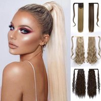 Synthetic Wigs BEAUTYC Wig Straight Kinky Curly Long Wrap Around Fake Pony Tail Clip In Ponytail Hair Blonde Afro Hairpiece