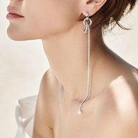 Dangle & Chandelier SOELLE Fashion Real 925 Sterling Silver Single 21cm Long Tassel Chain Earring With Pearl Zircon 1PC For Women Fine Party