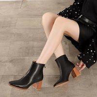 Couro natural mulheres botinhas sapatos 2021 Vallu inverno outono quadrado dedos senhora neve botas de salto alto tornozelo botas12