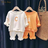 Baby Girl Boy Cotton Clothes Set Hoodie and Pant 2pcs Bebe Casual Sweatshirt Suit Spring Autumn Child Outfit Clothing set 1-7Y X0401