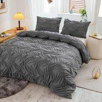 Conjuntos de ropa de cama 2 / 3PCS Líneas de textura de color liso Funda edredón Pillowcases Reina King Tamaño Conjunto cómodo