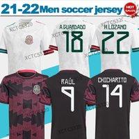 2021/2022 Meksika Futbol Forması # 22 H.Lozano # 14 Chicharito Pembe Siyah Beyaz Ulus Takımı Kısa Kollu Özelleştirilmiş Futbol Gömlek