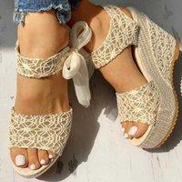 Sandales McCkle Femmes Lace up Peep Toe Coins Plateforme Élégantes Femme Casual Femme Casual Chaussures Strap Chaussures Femelle Pumps Summer 210608
