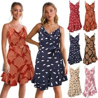 Casual Dresses 7-Color Plus Size Women Summer Backless Sling Dress Female Print Sexy V Neck Mini Sleeveless Spaghetti Strap Beach Party