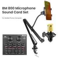 Meslek Stüdyosu BM 800 Kondenser Mikrofon Mikser Kiti Mic Ses Kartı Ses Arabirimi BM800 PC Bilgisayar Telefon Mikrofonlar için