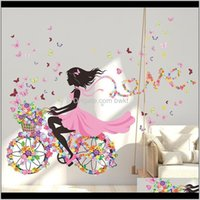 Wall Stickers Décor & Gardenwall Sticker Mural Home Decor Romantic Butterfly Flower Bicycle Ribbon Girl Walls Decal Bedroom Dormitory House D