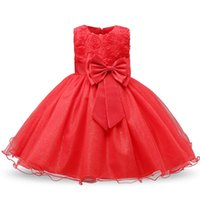 Girl's Dresses Red Year Dress For Girls Wedding 1st Birthday Outfits Children First Communion Kids Party Wear Vestidos