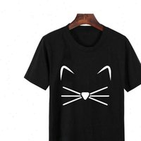 LUCKYROLL Camisetas Verano Mujer Thin Women Tops Section Kitten Harajuku Leisure Fashion CAT BLACK
