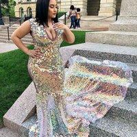 Длинные Sparkly Prom Платья 2021 Потрясающая Bling Rermaid V-образным вырезом Поезд Африканская черная девушка сексуальное вечернее платье
