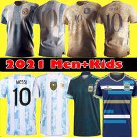 Fan Player Version 2021 Argentinien Messi Fußball Jersey Diego Maradona Gedenkmänner Kids Dybala Aguero Football Hemd Kit