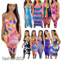 10 colors Women dresses 2021 spring and summer New Designer fashion sexy style women's printed large sleeveless suspender Mid-length dress fashion802