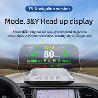 Çok fonksiyonlu 3D Stereo Ekran Araba HUD Tesla Modeli için 3 Model Y 2019-2021 Head-up Ekran Pil Durumu Güç Alarm Sistemi