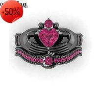 Vecalon Fashion Red Birthstone claddagh ring 5A Zircon Cz Black gold filled Party wedding Band Set for women men Gift