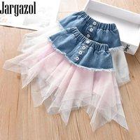 Jargazol verano de moda malla empalme falda de mezclilla linda niño niño traje bebé niños tutu faldas coreano irregularidad ropa
