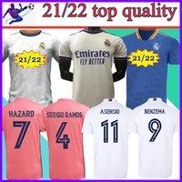 Jerseys Real Madrid 2021 2022 Camisa de Futebol Futebol Sergio Ramos Benzema Asensio Hazard Camiseta Men + Kids Kit Adicionar meias 20 21 22 Tamanho: S-4XL
