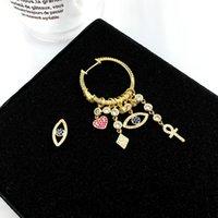 تصميم S925 الذهب إبرة الشياطين العين شكل قلب محظوظ رمز ماركة كبيرة السيدات الأقراط الحلو هدية الإناث
