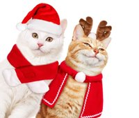 Pet Christmas Costume Outfit Set Dog Apparel Puppy Kitten Santa Hat Scarf Cloak Cat Party Holiday theme Cosplay Supplies Red