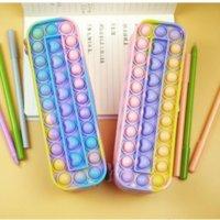 Pencil-case Children's Rainbow Push Pop Bubble Silicone Large Capacity Storage Stationery Box Toys Pioneer Sensory Fidget Decompression Student's 496