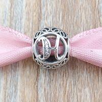 AnnaJewel 925 Sterling Silver Beads Vintage H Charm Fits European Pandora Style Jewelry Bracelets & Necklace 791852CZ