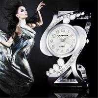 Wristwatches Watches For Women Silver Cuff Bangle Wristwatch Shiny Rhinestone Ladies Dress Quartz Saats Zegarek Damski