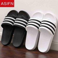 AsiSIFN Slippares de verano para hombres Flip Flop Soft Black Blanco Stripes Eva Casual Pareja Diapositivas Hombre Zapatos Mujer Shoes para hombre 210622