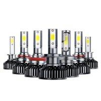 Faros de automóviles Un par, alto brillante F2-COB LED H1 H4 H7 HighPower 6000K AUTO CABET BULBS H11 H3 9005 9006 50W 12V Faro