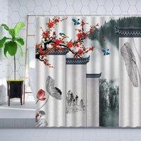 Shower Curtains Chinese Style Curtain Set Red Plum Lotus Ink Flower Plant Bird Landscape Bathroom Hooks Bathtub Screen Decorate