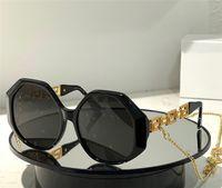 مصمم الأزياء 4395 النظارات الشمسية للنساء الاتجاه خمر مضلع شكل نظارات مع سلسلة الصيف avant-garde اراد أعلى جودة مضادة للأشعة فوق البنفسجية القضية