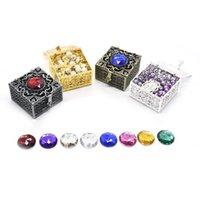 Boîtes de bijoux, sacs Qigo Crystal Vintage Boîte en métal Cas d'emballage Boîtes-cadeaux 4.8 * 4.5cm