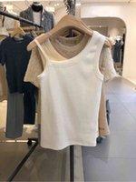 Vanovit Korea Summer Nouvelle mode Sexy Selon l'épaule Coton irrégulier Femme Débardeurs 210421