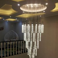 Lamba avize ışık yüksek tavan giriş yolu merdivenler için asılı spiral uzun lambalar kristal merdiven ışıkları kolye