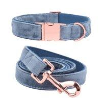 Collare di cani di natale delle zampe di stile unico e del guinzaglio del guinzaglio del guinzaglio dei colletti del cane regolabile del velluto blu per il grande cane 210416