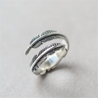 Cluster Rings Vintage Design Ring Silver Adjustable Feather Women Sterling Jewelry Wedding Gift